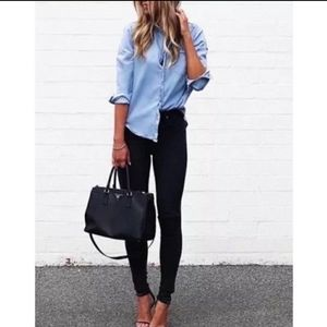 Tory Burch distressed black super skinny jeans 28